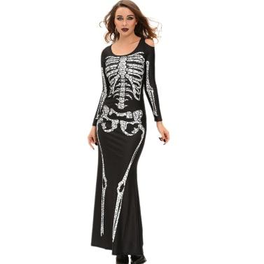 New Fashion Women Dress Skeleton Print Shoulder Cut Out Long Sleeve Floor-Length Halloween Cosplay Costume Black