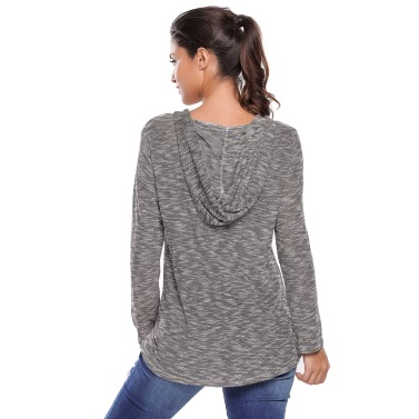 New Fashion Women Knitted Top Hooded V Neck Long Sleeve Casual Loose T-Shirt Pullover