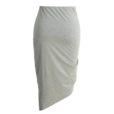 New Sexy Women Bodycon Lace-Up Skirt Side Split Asymmetric Hem Elastic Waist Solid Short Skirt Red/Grey