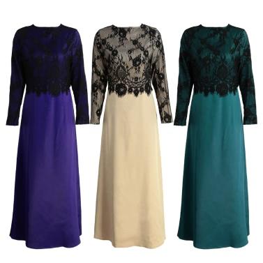 Neue Frauen Moslem langes Kleid Spitze-Häkelarbeit-Maxi-Kleid Langarm Splicing-Reißverschluss-Kleid-elegantes Swing-Kleid Khaki / Dunkelgrün / Violett