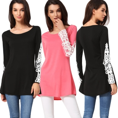 Women T-Shirt Crochet Lace Splicing Round Neck Long Sleeves Casual Long Top Pullover Black/Watermelon Red