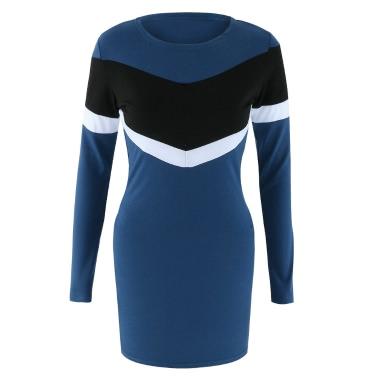 Sexy Women Mini Dress Bodycon Contrast Color Splice O-Neck Long Sleeves Casual Party Pencil Dress Dark Blue