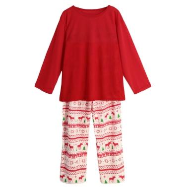 Neue Männer Zwei-teiliges Set Pyjama Weihnachtsnachtwäsche O-Ansatz lange Hülsen-beiläufige Haus Coat Top Hosen Rot