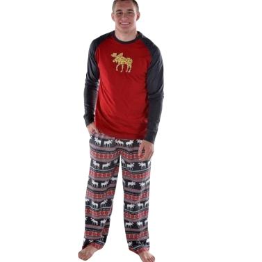 Männer Weihnachten Familie Look Pyjamas Rentier Familie Passenden Outfit Vater Mutter Kinder Baby T-Shirt Hosen Set Rot