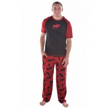 Männer Weihnachten Familie Look Pyjama Rentier Familie Passenden Outfit Vater Mutter Kind Nachtwäsche Nachtwäsche T-Shirt Hosen Set Rot
