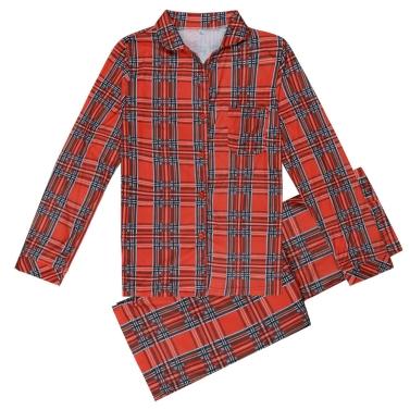 Familie Papa Männer zweiteilige Set Plaid Pyjama Nachtwäsche langen Ärmeln Taste Casual House Wear Top Hosen