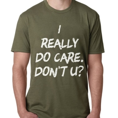 Casual Simple I Really Do Care Camiseta Short Sleeve Soft Tops para verano