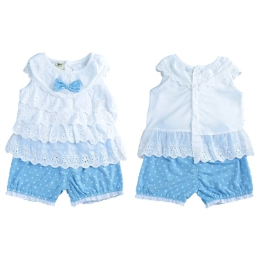New Girls Kids Blouse Top Vest Shorts Cascading Ruffle Dot Embroidery Sleeveless Elastic Waistband Cute Casual Children Two-Piece Set