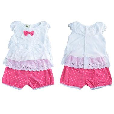 New Girls Kids Blouse Top Vest Shorts Cascading Ruffle Dot Embroidery Sleeveless Elastic Waistband Cute Casual Children Two-Piece Set