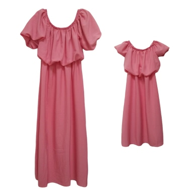 Girls Chiffon Dress Family Matching Outfits Mother Daughter Dress Mommy and Me Clothes Parents Kids Long Dress