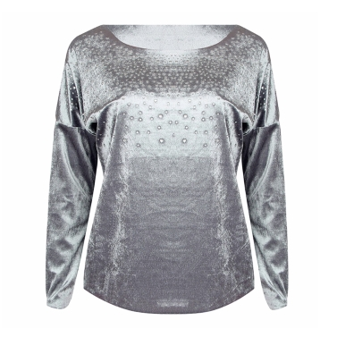 New Fashion Women Velvet Rhinestone Long Sleeve T-Shirt Bling Diamond O Neck Loose T-Shirt Tee Top