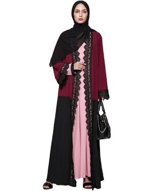 Women Plus Size Muslim Cardigan Crochet Lace Spliced Color Block Long Sleeve Maxi Gown Islamic Dress Burgundy