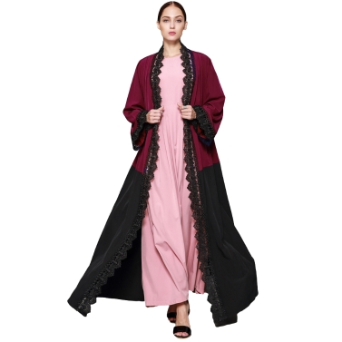 Frauen Plus Größe Muslimische Strickjacke Häkelspitze Gespleißt Farbblock Langarm Maxi Kleid Islamische Kleid Burgund