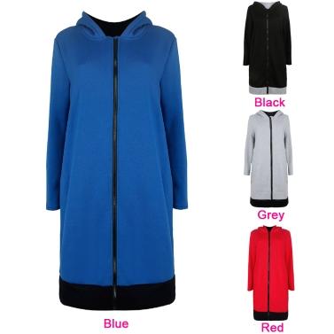 Women Long Hooded Sweatshirts Coat Contrast Casual Pockets Zipper Outerwear Hoodies Jacket