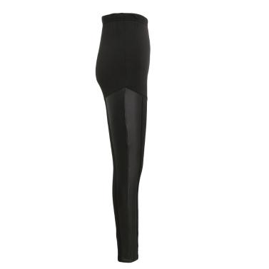 Sexy Women Slim Leggings Leather Splice Elastic High Waist Casual Cool Skinny Pencil Pants Trousers