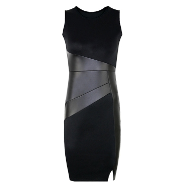 New Celebrity Women Dress PU Leather Splice Round Neck Sleeveless Elegant Slim Party Dress Black