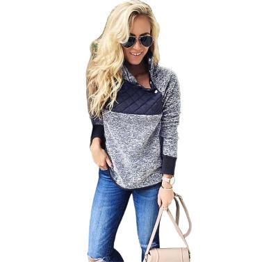 Frauen Fleece-Sweatshirt High Neck Langarm-Taste lässig warme Pullover Top weiß / dunkelblau
