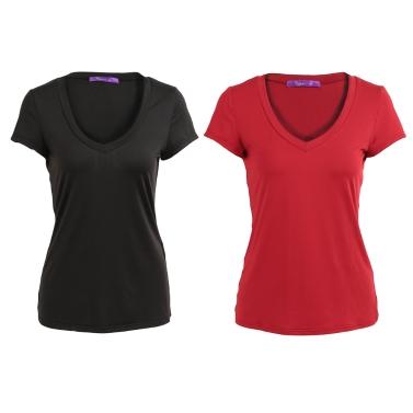 Neue Mode Frauen Solid T-Shirt Tiefem V-ausschnitt Kurzarm Dünne Taille T-shirt Top Schwarz / Burgund