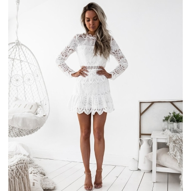 Neue Frauen Kleid Spitze Aushöhlen Langen Ärmeln Oansatz Elegante Mini Abendgesellschaft Dünne Kleider