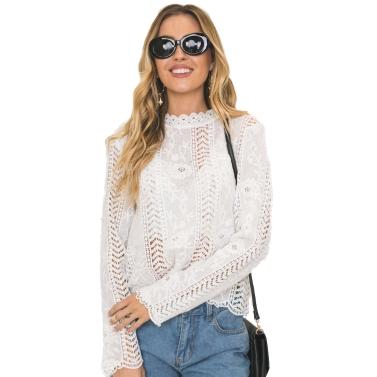 Frauen Bluse Solid Floral Crochet Spitze High Neck Langarm überbacken aushöhlen Casual Tops Weiß