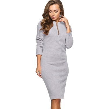 New Women Solid Dress Long Sleeve Front Zip Up Elegant Party Pencil Mini Bodycon Dress Green/Grey/Red