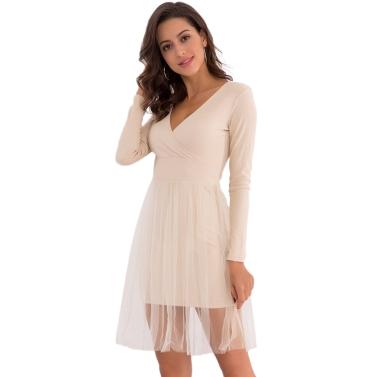 Frauen stricken Skater Kleid Mesh Layer langen Ärmeln V-Ausschnitt A-Line hohe Taille Party Kleid