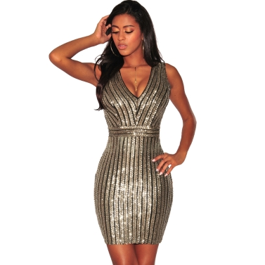 Sexy Women Sequined Dress Backless Deep V-Neck Sleeveless Cut Slim Party Club Cocktail Mini Dresses