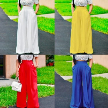 Women Pants Solid Color High Waist Wide Loose Legs Pockets Casual Palazzo Baggy Clubwear Trousers