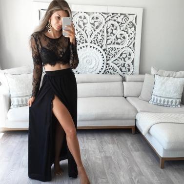 Sexy Women Sheer Floral Lace Blouse O-Neck Long Sleeve Mesh Crop Top Shirt Clubwear Black/White