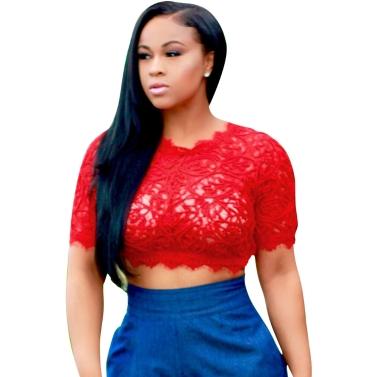 Sexy Women Sheer Lace Crop Top O-Neck Short Sleeve Crochet Tank Top Slim Short T-shirt