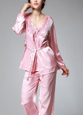 Women Silk Satin Night Robe Set Badydoll Pants Kimono Bathrobe Nightgown Sleepwear