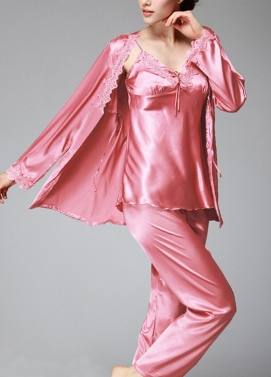 Frauen Silk Satin Night Robe Set Badydoll Hosen Kimono Bademantel Nightgown Nachtwäsche