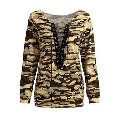 New Sexy Frauen Pullover Camo Print Lace Up mit V-Ausschnitt mit langen Ärmeln Pullover beiläufige lose Top Brown / Armee-Grün