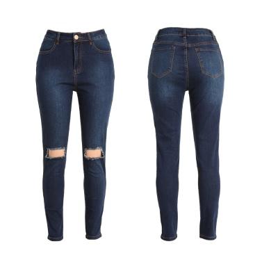 Women Ripped Jeans Denim Destroyed Holes Zipper Slim Skinny Pants Pencil Trousers Tights Dark Blue