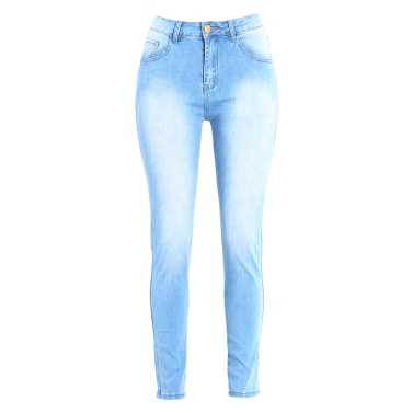 New Women Bodycon Jeans Denim Washed Zipper Pockets Casual Skinny Pencil Pants Trousers Tights Blue