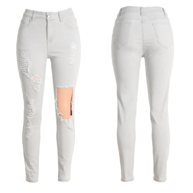 New Sexy Women Denim Jeans Ripped Hole Tights High Waist Skinny Bodycon Pants Pencil Trousers Light Grey