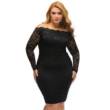 Sexy Women Mini Plus Size Bodycon Dress Floral Lace Splice Shoulder Elegant Party Dress Black/Burgundy/Dark Blue