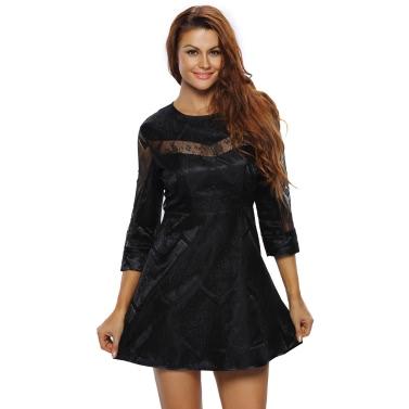 Sexy Women Mini Dress Sheer Lace Splice O-Neck 3/4Sleeves Zipper Elegant A-Line Party Dress Black/Gold