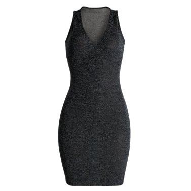 Sexy Women Mini Dress Bodycon Solid Sequins Deep V-neck Sleeveless Elegant Slim Party Club Dress Black