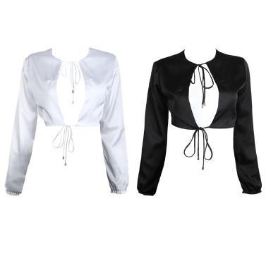Neue reizvolle Frauen-Blusen-Ernte-Oberseite-feste Farbe schnüren sich O-Ansatz lange Hülsen-elegante beiläufige Hemd-Schwarzes