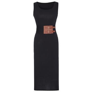 Sexy Women Midi Bodycon Dress Solid PU Splice Ruched Split O-Neck Sleeveless Elegant Casual Party Sundress