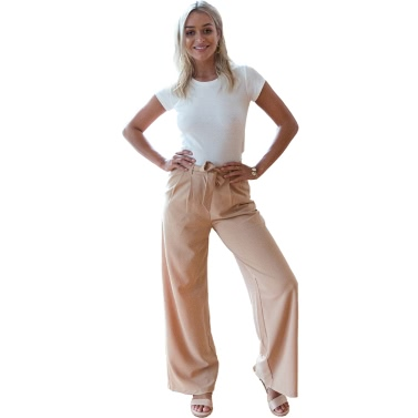Women Wide Legs Pants High Waist Ruched Side Pockets Zipper Solid Loose Straight Casual Trousers Khaki