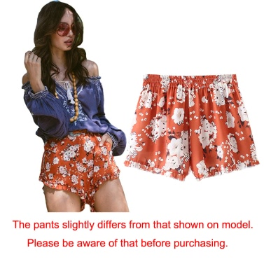 Women Summer Boho Shorts Print Elastic High Waist Casual Beach Hot Pants Trousers Orange