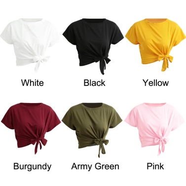 New Summer Women Solid T-Shirt Tie Front O-Neck Short Sleeve Bow Loose Casual Tee Top