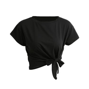 Neue Sommer-Frauen-fester T-Shirt Bindung Vorne O-Ansatz Kurzschluss-Hülsen-Bogen-lose beiläufiges T-Stück Oberseite