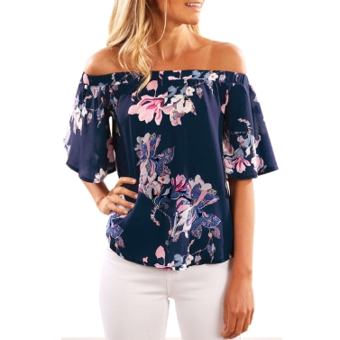 Sexy Blumendruck aus Schulter Slash Neck Flare Hülse Damen Bluse