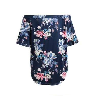 Women Sexy Summer Tops Floral Print Off Shoulder Slash Neck Flare Sleeve Asymmetric Blouse Dark Blue
