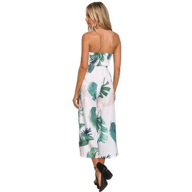 Frauen Overall trägerlosen Palm Leaf Geometrische Druck Sommer Overalls Hosen Sleeveless Playsuit Spielanzug