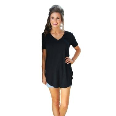 Neue Mode Frauen T-shirt Einfarbig V-ausschnitt Kurzarm Abgerundete Hem Lange Beiläufige Party Tragen Tops