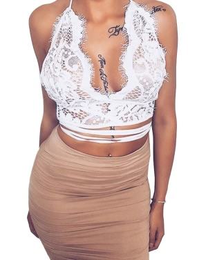 Sexy Women Crop Top Hollow Out Lace Bralette Deep V Neck Bandage Cross Camisole Bra Tank Top Black/White